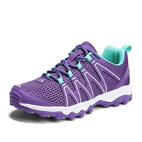 Zapatillas Senderismo Hombre Mujer Zapatillas Trekking Mesh Transpirable Sneakers Casual Zapatillas de Deporte Púrpura 38
