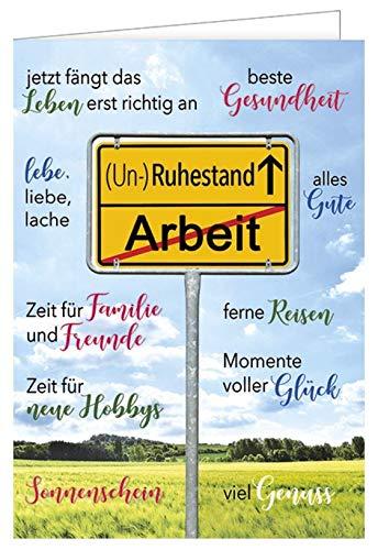 Ruhestandskarte XXL - Din A4 - Ortsschild - ab in den (Un-) Ruhestand inkl. Umschlag