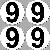 GreenIT 4 Stück Aufkleber Sticker Nummer 9 Startnummer...