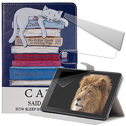 Capa YEARN MALL para iPad Air 3ª geração 10,5 polegadas 2019/iPad Pro 10,5 2017, despertar/hibernar automaticamente, com protetor de tela [2 unidades], gato e livro