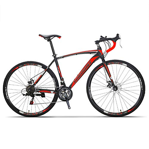 Bicicletas De Carretera Ligeras 700C Bicicleta De Carretera De 26 Pulgadas para Hombres Bicicleta De Carretera 21 Speed Adventures 700C, Frenos De Disco Y Cuadro De Acero Al Carbono