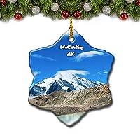 マッカーシー湖アラスカ米国クリスマスツリーの飾りクリスマスオーナメントトラベルギフトのお土産3インチ磁器両面