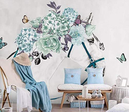DZBHSCL 4D Behang muurschilderingen, Nordic Creative Green Flower White Horse Animal Art Print formaat fotobehang voor thuis woonkamer bank Tv achtergrond veranda slaapkamer wanddecoratie poster 80in×120in 200cm(H)×300cm(W)