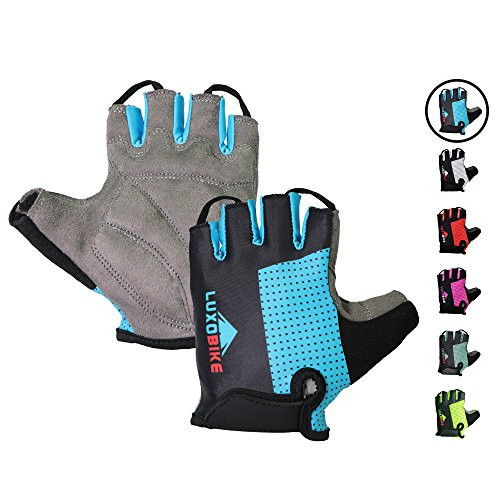 Cycling gloves (Blue - Half finger, Small)