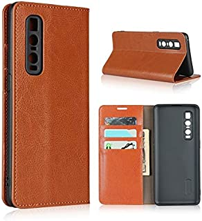 SDDLRM Cover Leather Case for Oppo Find X2 Pro, Luxury Genuine Leather Wallet Case with Viewing Stand & Card Slots, Flip C...
