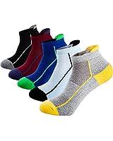 Mens Low Cut Ankle Athletic Socks Cotton Mesh Cushioned Running Ventilation Sports Tab Socks (5 pack)