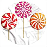LCGGDB Colorful Flannel Throw Blanket,Lolly Pops on Sticks Soft Flannel Round Blanket for Indoors, Outdoors, Travel, Home and More, Round 47 Inches