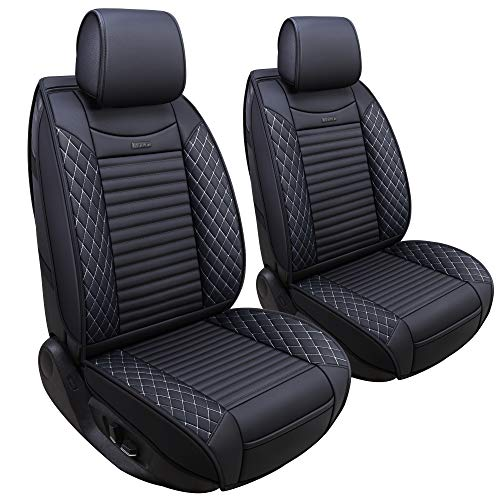 Aierxuan 2 Pcs Front Captain Seat Covers for Cars Waterproof Leather Cushion Universal Fit for Cx5 Renegade Highlander Toyota Corolla 4Runner Prius Nissan Altima Rogue (2 Pcs Front/Black-White) -  YITAI