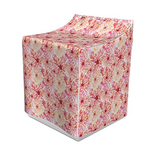 ABAKUHAUS Dahlie-Blume Waschmaschienen und Trockner, Doppel Apple Blossom mit Overlap-Achse und Twist Unverblümt Kreis Pompons, Bezug Dekorativ aus Stoff, 70x75x100 cm, rosa Gelb