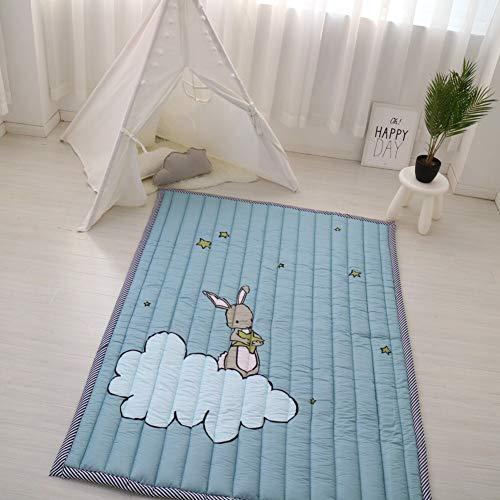 Zinsale Grande Espesar Algodón Baby Playmat Educativo Estera de Arrastre Alfombra de guardería Actividad Gimnasio (Conejo en la Nube)