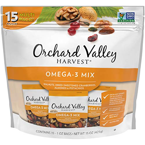 ORCHARD VALLEY HARVEST Omega-3 Mix, 1 oz (Pack of 15), Non-GMO, No Artificial Ingredients