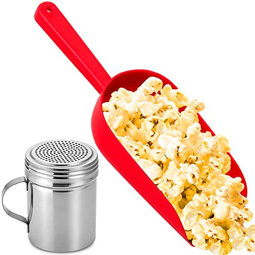 CUSINIUM Red Popcorn Plastic Scoop w/Popcorn Salt Shaker with Handle Bundle