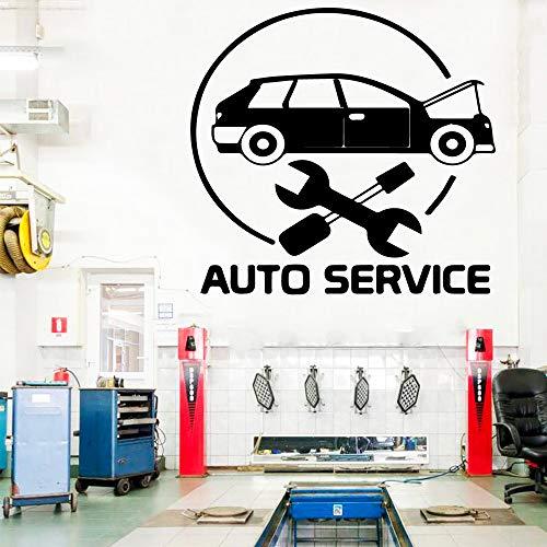 SLQUIET Anpassbare Schönheit Auto Service Wandaufkleber Auto Reparatur Shop Dekoration Vinyl Art Deco Wandtattoo Mode Aufkleber rot XL 58cm x 61cm