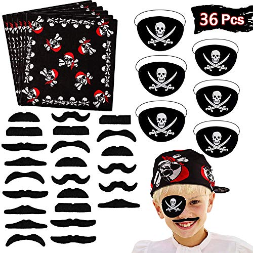 BESTZY 36pcs Accesorios para Disfraz de Pirata para niños Capitán Traje Set Pirate Eye Patch Pirata Bandana Fake Bigote para Niños Accesorios de Fiesta Disfraz para Halloween