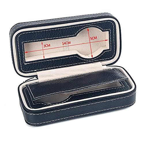 LGR Joyero Caja de Reloj Cajas de joyería Viajes Hombres Mujeres Regalo Cuero Artificial Cremallera Negra Caja de colección portátil Caja de Almacenamiento 18 * 8.5 * 6Cm