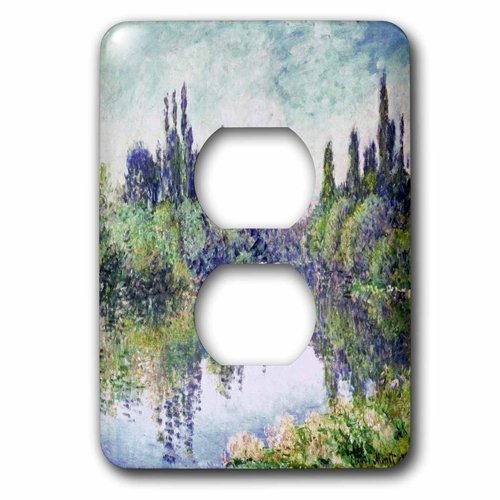 Duplex Receptacle Outlet Wallplate 1 Gang Outlet Covers Print Of Monet Painting Morning On The Seine Classic Beadboard Wall Plate Decorator Unbreakable Faceplate