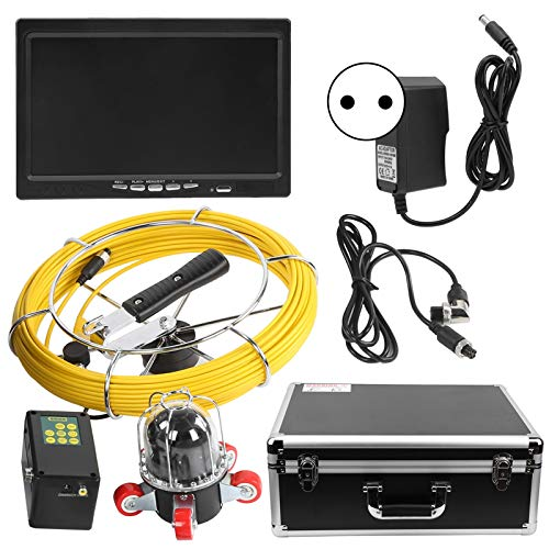Cámara de inspección de tuberías de 7 pulgadas, F9807D Cámara de inspección de alcantarillado de drenaje de 50 m Endoscopio industrial para grabación de video DVR(EU Plug 100‑240V)