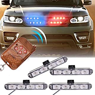 XT AUTO Car 16 LED Red & Blue Police Strobe Flash Light Dash Emergency Warning Lamp 12V