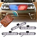 XT AUTO Car 16 LED Red & Blue Police Strobe Flash Light Dash Emergency Warning Lamp 12V
