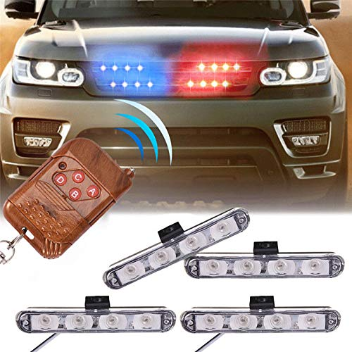 XTAUTO Car 16 LED Red & Blue Police Strobe Flash Light Dash Emergency Warning Lamp 12V