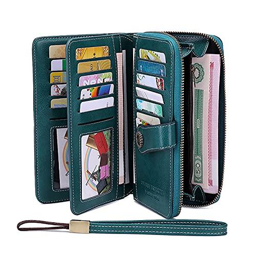 Cartera para mujer, estilo retro, gran capacidad, piel, gran capacidad, varios compartimentos, bloqueo NFC, protección RFID, formato largo, con 24 ranuras para tarjetas, Verde., L19cm*W3.5cm*H11cm,