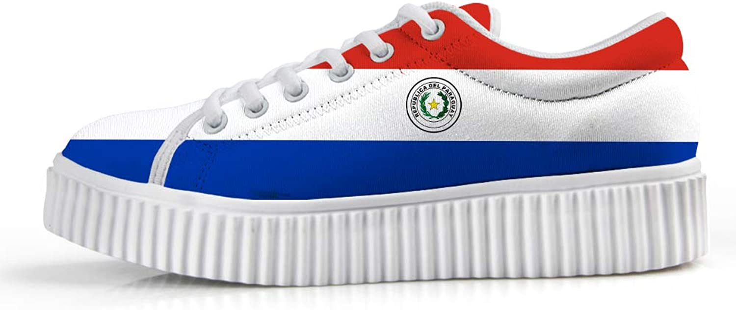 Owaheson Platform Lace up Sneaker Casual Chunky Walking shoes Low Top Women Paraguay Flag