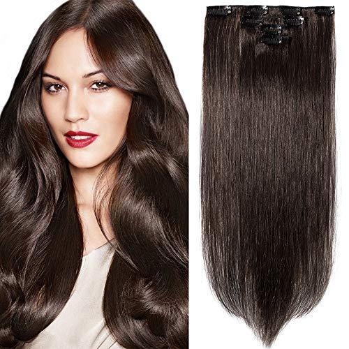 SEGO Extension Capelli Veri Clip Castani 4 Fasce 100% Remy Human Hair Naturali Extensions 30cm #2 Castano Scuro 40g