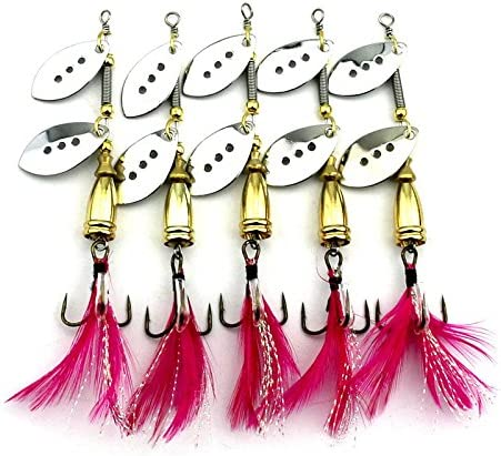 LENPABY 5PCS Feather Direct store Fishing Rooster Tail Hooks Spinner Spring new work one after another