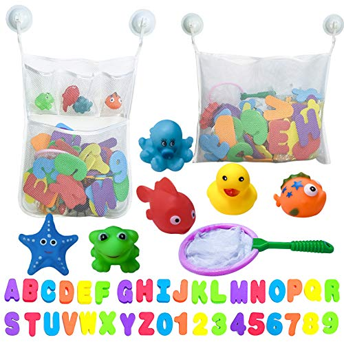 HAOMARK Bath Toy Holder Organizer Set - 2 Quick Dry Storage Net with Soft Foam Bathtub Letters & Number and Fish Net & Additional Suction Cups for Toddlers Baby Kids Games Learning