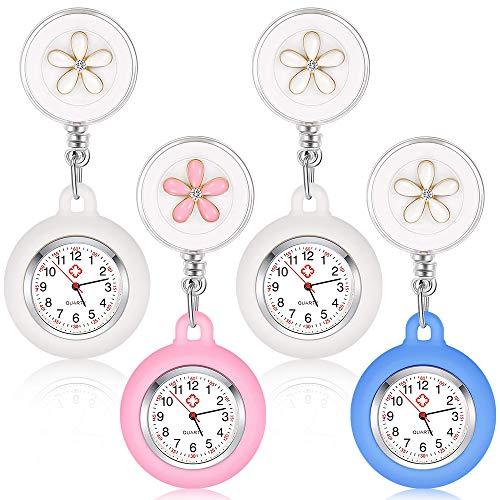 Nurses Fob Watch, Achort 4 Piezas retráctil con Clip, Colgante, Solapa, Reloj de Enfermera con Cubierta de Silicona, Broche, Carrete de Insignia para Hombres, Mujeres, médico, Enfermeras, paramédico