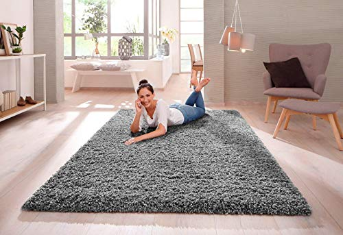 SHAGGY RUG Modern Rugs Living Room Extra Large Small Rectangular Size Soft Touch 30MM / 3cm Thick Pile Living Room Area Rugs Non Shedding (Grey, 240cm x 340cm (7.9ft x 11.2ft))