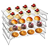 """Set of 4 cooling racks, each measures 16"""" x 10"""" x 3"""". perfectly fit most regular oven for baking and roasting. Made of high quality 304 stainless steel with smooth edges and mirror finished shiny surface, those baking racks are solid, sturdy, rust fr..."""