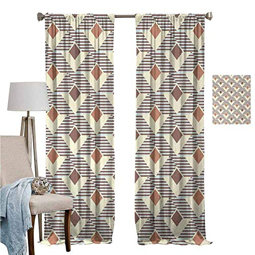 Blackout Curtains for Living Room- Curtains for Windows Graphic Design Squares Triangles Striped Background Pattern Redwood Light Yellow Turquoise Energy Saving Set of 2 Panels W96 x L96