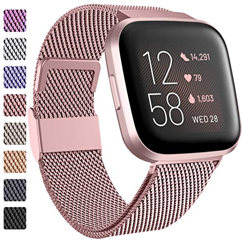 ZWGKKYGYH Bands Compatible with Fitbit Versa 2/Versa 1/Versa Lite for Women Men, Rose Gold Stainless Steel Mesh Metal Magnetic Band Bracelet Strap Replacement for Fitbit Versa Smartwatch, Small