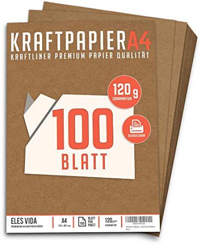 100 Blatt Kraftpapier A4 Set - 120 g - 21 x 29,7 cm - DIN Format - Bastelpapier & Naturkarton Pappe Blätter aus Kraftkarton zum Drucken, Kartonpapier Basteln für Vintage Hochzeit Geschenke Etiketten