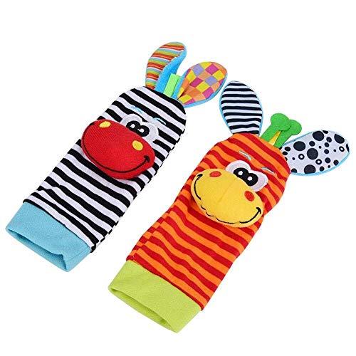 MISLD Baby Rattle Sokken, Zachte Doek Dieren Pop Kousen en Polsbandjes Leuke Warm Intelligentie Visie Gehoor Stimulatie Verstelbare Beschermende Voeten Doek Set