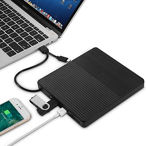 Anmy Optical Drive Ultra-thin Type-C CD Burner USB 3.0 External Optical Drive Notebook DVD-RW For MacBook Laptop (Color : Black, Size : One size)