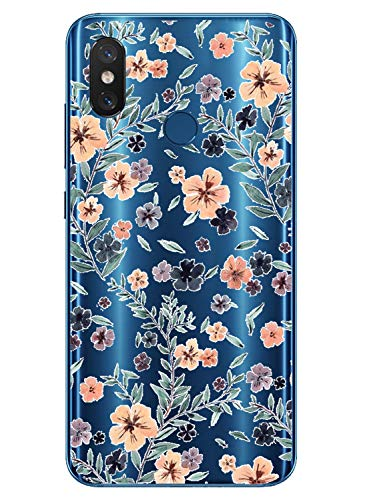 Oihxse Mode Transparent Silicone Case Compatible pour Xiaomi Redmi Note 8 Pro Coque, Ultra Mince Souple TPU Mignon Animal Série Protection de Housse Anti-Scrach Bumper Etui -Fleur