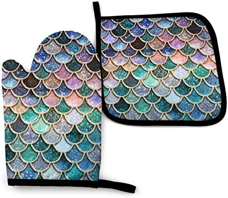 Oven Mitts and Pot Holders Set Beautiful Colorful Mermaid Scales Washable Heat Resistant Kitchen product image