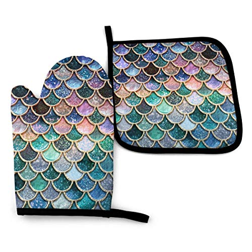 Oven Mitts and Pot Holders Set,Beautiful Colorful Mermaid Scales Washable Heat Resistant Kitchen Non-Slip Grip Oven Gloves for Microwave BBQ Cooking Baking Grilling
