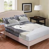 Castle Fairy White Wild Wolf Print Teens Youngs Fitted Sheet 3D Snow Wolf Looking Deep Pocket Duvet Sheet Full Ultra Soft Microfiber 3 PCS Bed Sheet Sets(1 Fitted Sheet 2 Pillow Cases)