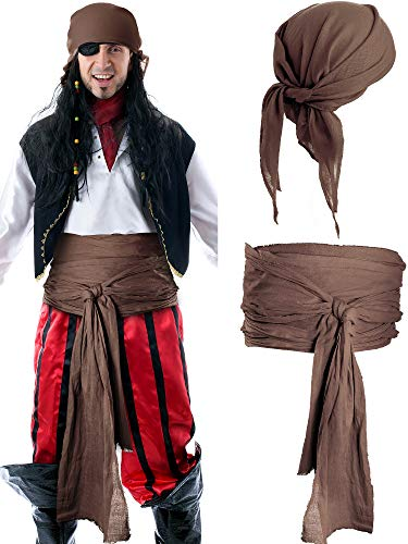 SATINIOR Halloween Piraten Kostüm Mittelalter Renaissance Leinen Pirat Bandana und Gürtel Zubehör Große Schärpe Kostüm (Schokolade)