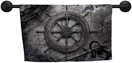 Pattern Towel W 24 x L 8(inch) Pattern Towel,Ships Wheel,Retro Navigation Equipment Illustration with Steering Wheel Charts Anchor Chains,Charcoal