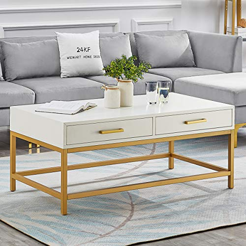24KF Middle Century 2 Drawers Stylish Coffee Table with Lacquer Finish Golden Metal Base for Living Room Furniture- White/Golden