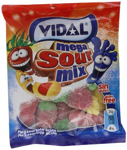 Vidal Golosinas. Megasurtido ácido de dedos, fresas y pies ácidos. 14 bolsas de 100 g.