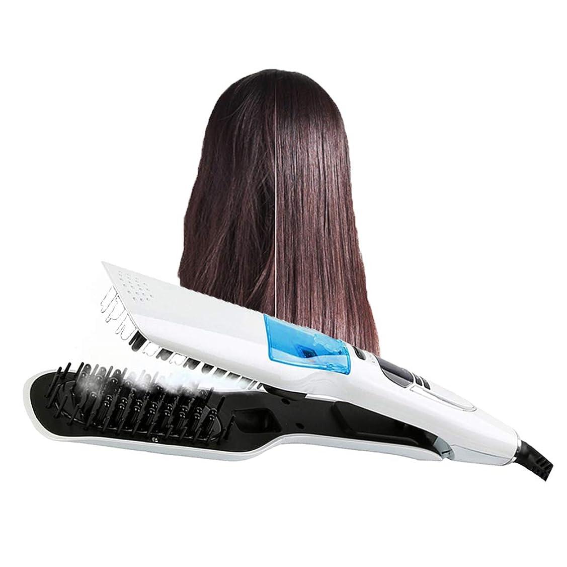 ストレージ受け皿ドラフト女性のための LED 表示の電気蒸気の毛の櫛毛の速いスプレーの蒸気のスタイリング用具の白いの専門の毛の矯正の櫛