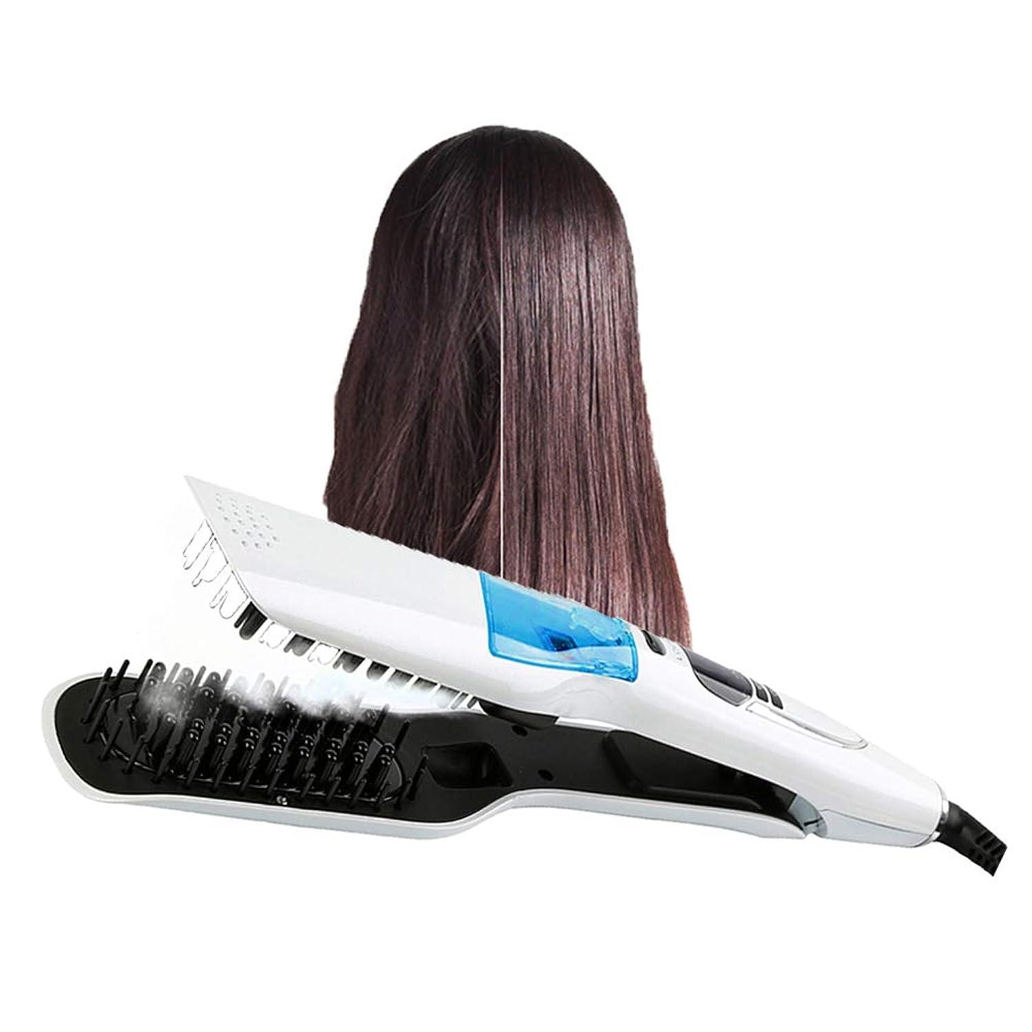 請願者くしゃくしゃシンボル女性のための LED 表示の電気蒸気の毛の櫛毛の速いスプレーの蒸気のスタイリング用具の白いの専門の毛の矯正の櫛
