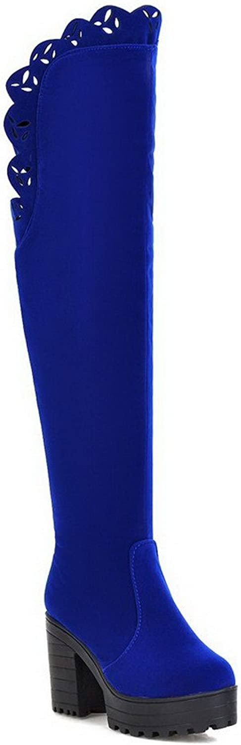 WeenFashion Women's Imitated Suede Frosted Round Closed Toe Above-the-knee High-Heels Boots