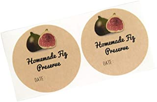Homemade Fig Preserve Labels Stickers for Mason Jars by Once Upon Supplies, Homestead and Canning Supplies, 2.5 Inches Diameter, 36 Pcs
