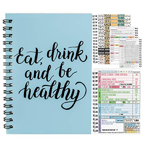 Kalorienzähler Ernährung Diät-Planer A5 Drahtgebunden Journal Gewichtsverlust Wellness Obst Gesundheit 7 Wochen Dauer Blau mit Aufklebern [48] 2020